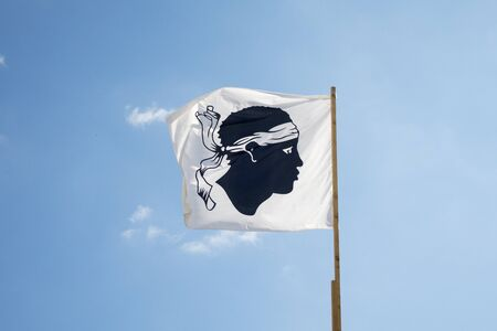 corsica: corsican flag on a sunny day Stock Photo