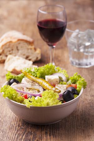 fresh greek salad with olives  Stock Photo