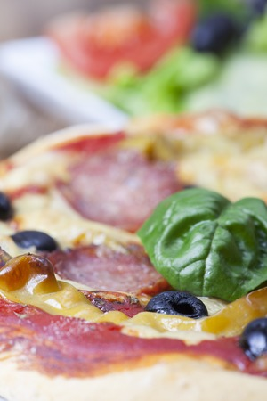 closeup of a pizza with a basil leaf