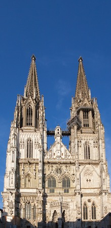 front of the dom in Regensburg Stock Photo