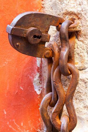 closeup of an rusty old lock Stock Photo