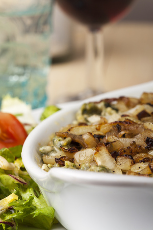 bavarian homemade pasta dish with salad