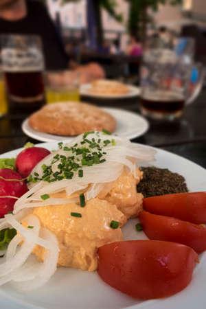 obatzda in a beer garden in bavaria