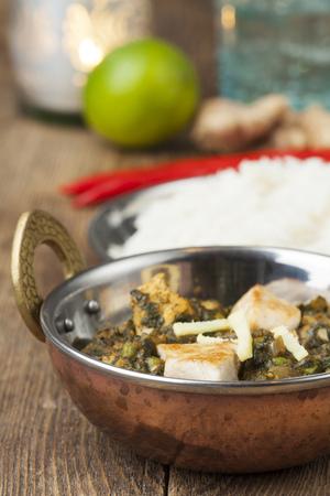 indian murgh palak dish with rice Stock Photo