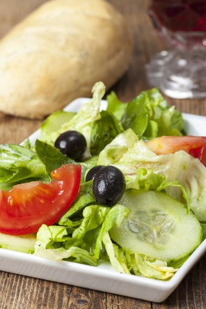 small salad with black olives