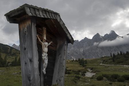 Cross in the karwendel alps Stock Photo