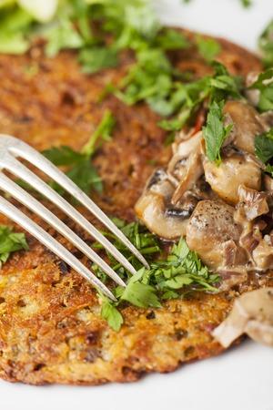 potatoe pancakes with mushroom sauce