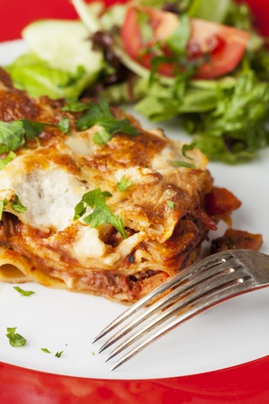 portion of fresh lasagna on a plate