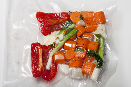 Sous vide bags with mixed vegetables