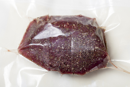 meat in a sous vide bag  Stock Photo