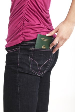 slim woman and a passport