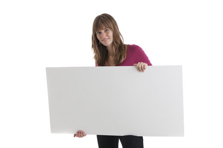 woman and a sign