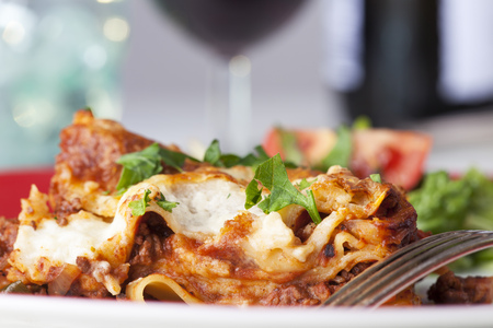 portion of classical italian lasagna on a plate