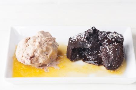 liquid chocolate cake and ice cream  Stock Photo