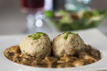 bread dumpling with mushroom sauce