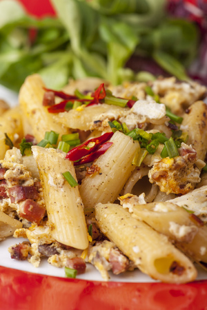 pasta with bacon and eggs  Stock Photo