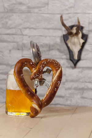 heart shaped pretzel with beer