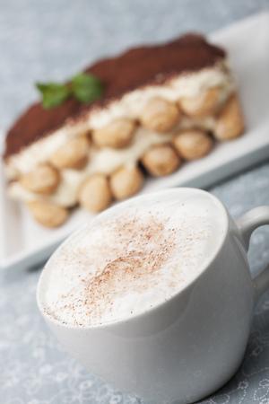 closeup of a cappuccino with tiramisu