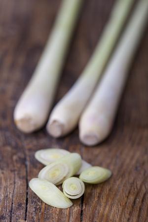 lemon gras on dark wood  Stock Photo