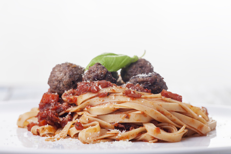 spaghetti with tomato sauce and meatballs  Stock Photo