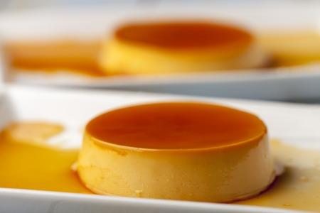 closeup of flan dessert on plates