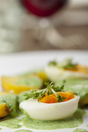 green sauce with eggs and potato  Stock Photo