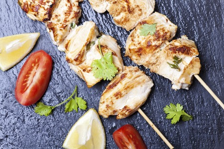 grilled chicken skewer with cilantro