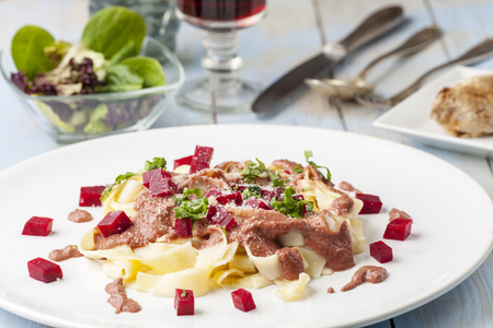 tagliatelle with beet root sauce