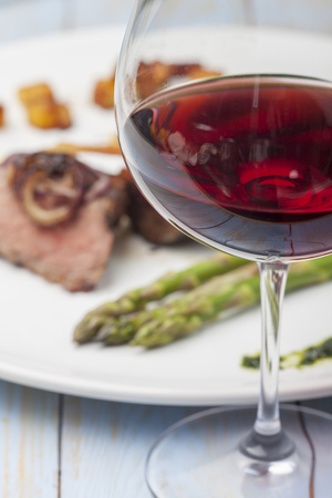 red wine and a steak  Stock Photo