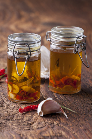 olive oil with garlic, chili and rosemary