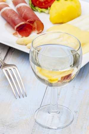white wine and asparagus  Stock Photo