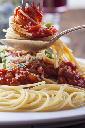 spaghetti with tomato sauce on a plate