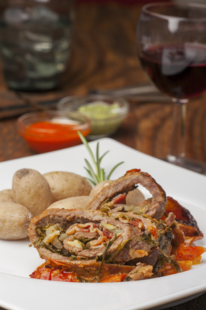 veal roulade from canary islands with mojo  Stock Photo