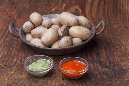typical potatos from canary islands with mojo