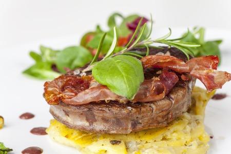 grilled  steak with potato gratin Stock Photo