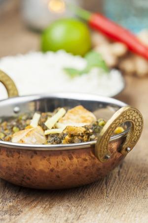 indian murgh palak dish with rice
