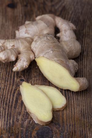 ginger on dark wood