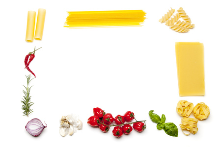 frame made out of pasta and ingredients