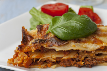 fresh italian lasagna on a plate