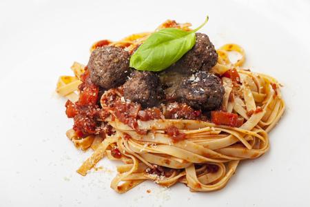 spaghetti with tomato sauce and meatballs  Stock Photo