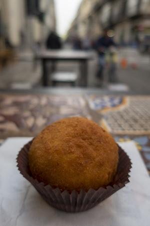 italian arancine outdoor on the street