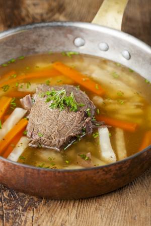 tafelspitz meat in a soup pot
