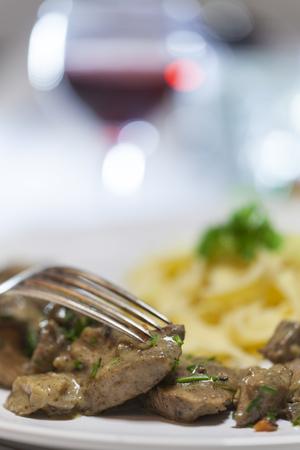 bavarian geschnetzeltes, shredded pork with pasta