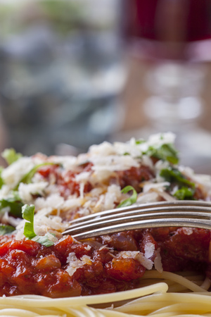 spaghetti with tomato sauce on a plate Stock Photo