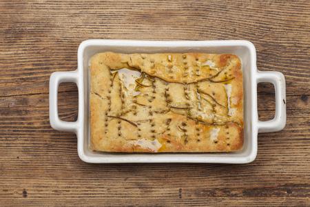 italian focaccia bread on wood Stock Photo
