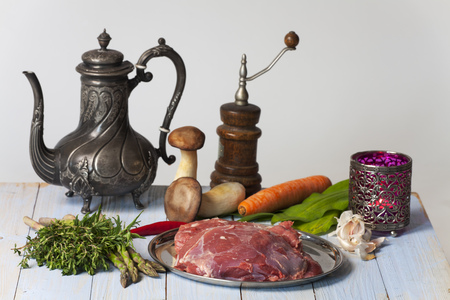 raw lamb meat and vegetables Stock Photo