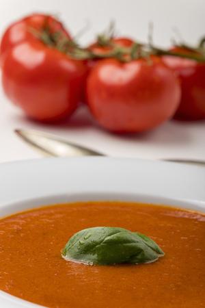 fresh tomato soup in a bowl Stock Photo