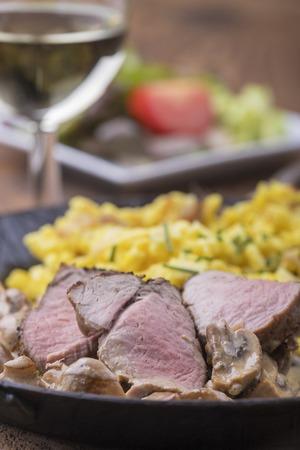 swabian pork filet with spaetzle and wine