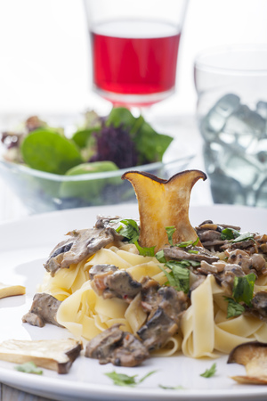 pasta with mushroom sauce on a plate