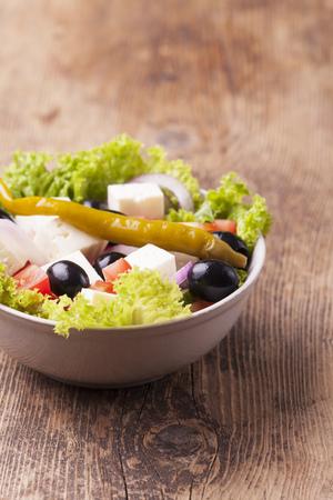 fresh greek salad with olives